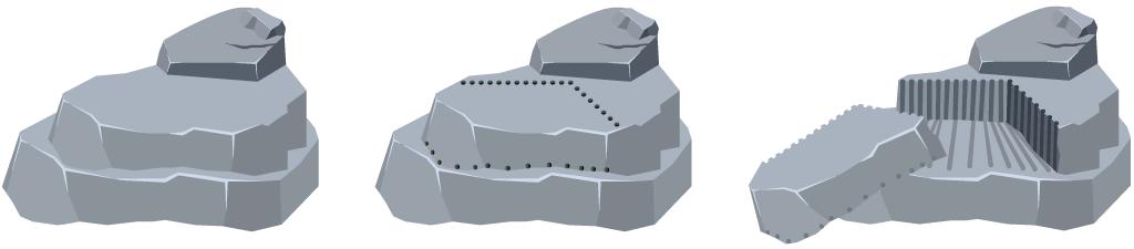 Corte en cantera,con cemento demoledor ,instrucciones de uso
